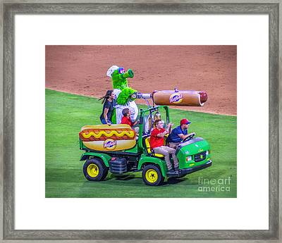 Phillie Phanatic Hot Dog Shooter Framed Print by Nick Zelinsky
