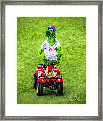 Phillie Phanatic Scooter Framed Print by Nick Zelinsky