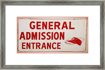 Phillies General Admission Sign From Connie Mack Stadium Framed Print by Bill Cannon