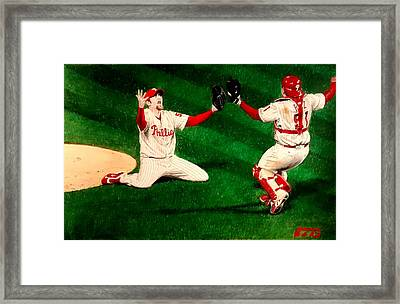 Phillies Win The World Series Framed Print by Ezra Strayer
