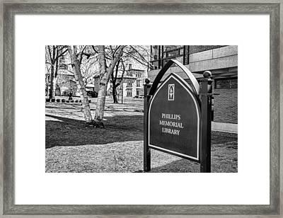 Phillips Memorial Library Providence College, Monochrome Framed Print by Nancy De Flon
