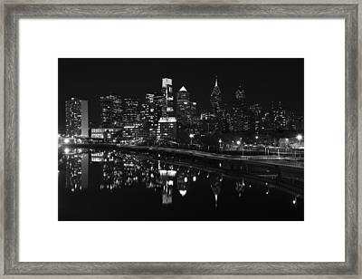Philly And The Schuylkill Bw Framed Print by Jennifer Ancker