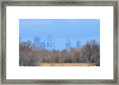 Philly From Afar Framed Print by Kathy Eickenberg