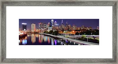 Philly In Panoramic View Framed Print by Frozen in Time Fine Art Photography
