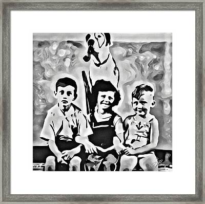 Framed Print featuring the digital art Philly Kids With Petey The Dog by Joan Reese