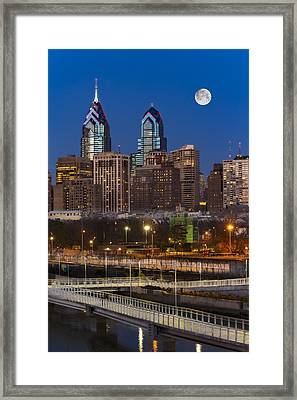 Philly Skyline Full Moon Framed Print by Susan Candelario