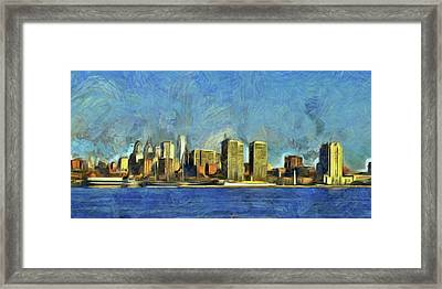 Framed Print featuring the mixed media Philly Skyline by Trish Tritz