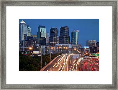 Framed Print featuring the photograph Philly Skyline With Highways by Matthew Bamberg