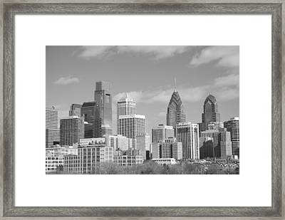 Philly Skyscrapers Black And White Framed Print by Jennifer Ancker