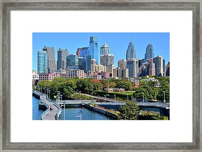 Philly With Walking Trail Framed Print by Frozen in Time Fine Art Photography