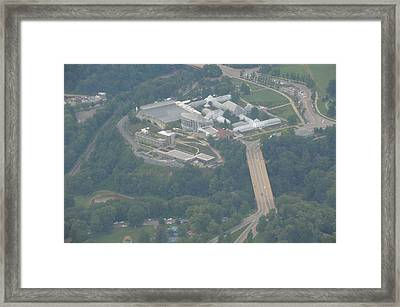 Phipps Conservatory From 3000 Feet On A Misty Day Framed Print
