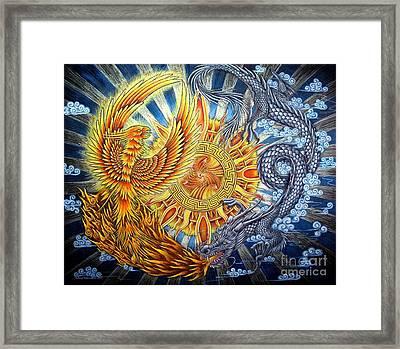 Phoenix And Dragon Framed Print