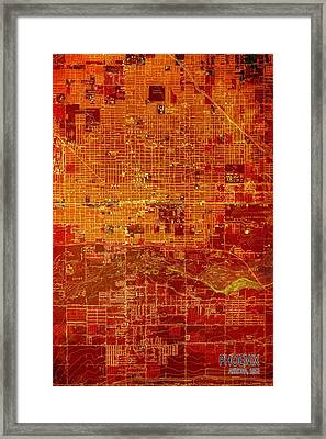 Phoenix Arizona 1952 Red And Orange Old Map Framed Print by Pablo Franchi