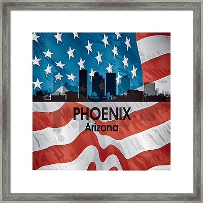 Phoenix Az American Flag Squared Framed Print by Angelina Vick