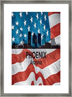 Phoenix Az American Flag Vertical Framed Print by Angelina Vick