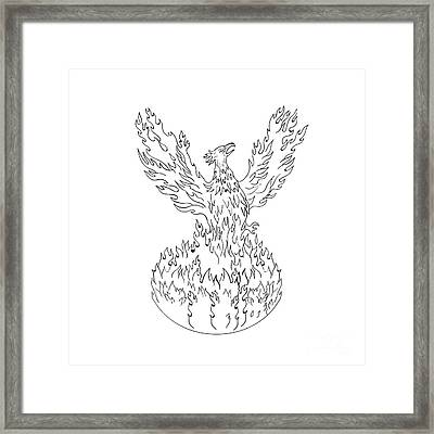 Phoenix Rising Fiery Flames Black And White Drawing Framed Print