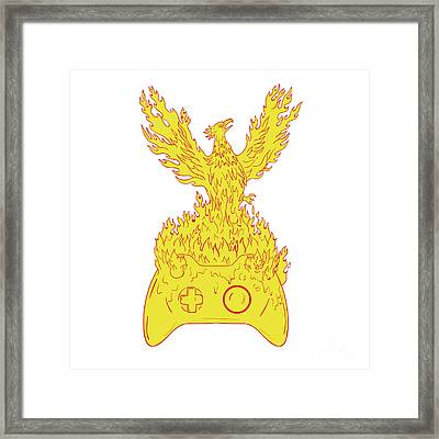 Phoenix Rising Fiery Flames Over Game Controller Drawing Framed Print by Aloysius Patrimonio