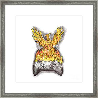 Phoenix Rising Over Burning Game Controller Tattoo Framed Print by Aloysius Patrimonio