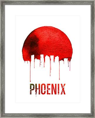 Phoenix Skyline Red Framed Print by Naxart Studio