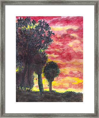 Framed Print featuring the painting Phoenix Sunset by Eric Samuelson