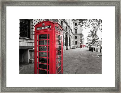 Phone Booths In London Framed Print by James Udall