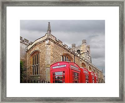 Framed Print featuring the photograph Phone Home - Gt St Marys Church Cambridge by Gill Billington