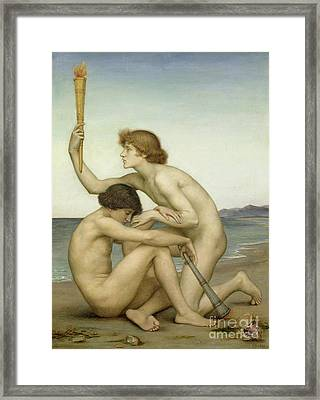 Phosphorus And Hesperus Framed Print by Evelyn De Morgan
