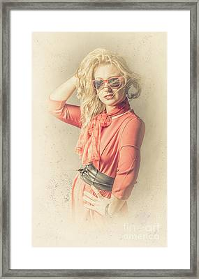 Photo Of Beautiful Girl In Vintage Fashion Style Framed Print by Jorgo Photography - Wall Art Gallery