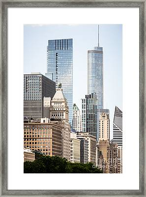 Photo Of Chicago Buildings Along Michigan Avenue Framed Print by Paul Velgos