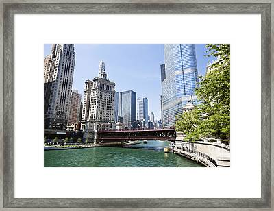 Photo Of Chicago Skyline At Michigan Avenue Bridge Framed Print by Paul Velgos