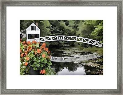 Photo 'sketch' Of Somesville Bridge Framed Print by Ray Summers Photography