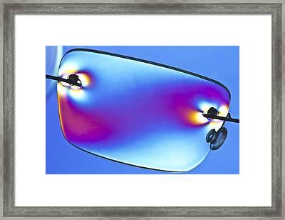 Photoelastic Stress Of Plastic Glasses Framed Print by Pasieka