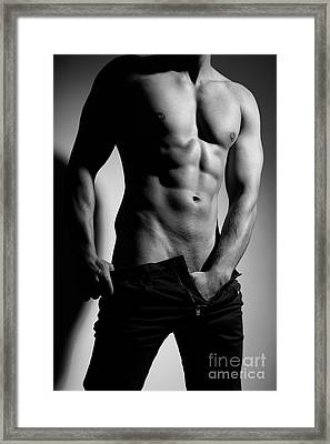 Photograph Of A Sexy Man In Black And White #9981g Framed Print