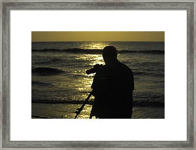 Photographer And Atlantic Ocean Sunrise Framed Print by Darrell Young