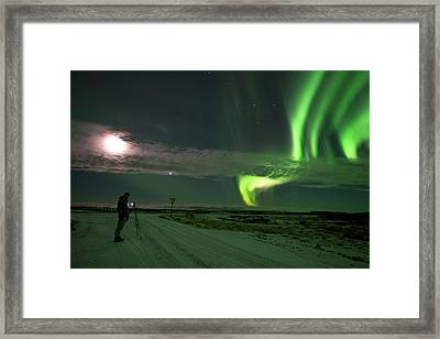 Framed Print featuring the photograph Photographer Under The Northern Light by Dubi Roman
