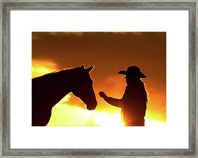 Cowgirl Sunset Sihouette Framed Print