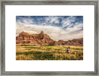 Photographer Waiting For The Badlands Light Framed Print by Rikk Flohr