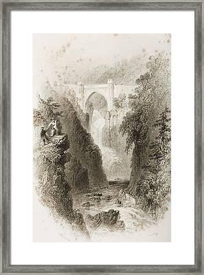 Phoul A Phuca Falls, Ireland.drawn By Framed Print