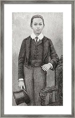 Phra Bat Somdet Phra Poramentharamaha Framed Print by Vintage Design Pics