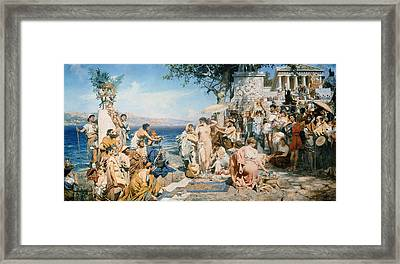 Phryne At The Festival Of Poseidon In Eleusin Framed Print by Henryk Siemieradzki