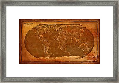 Physical Map Of The World Antique Style Framed Print by Theodora Brown