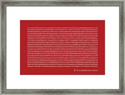 Pi To 2198 Decimal Places Framed Print by Michael Tompsett