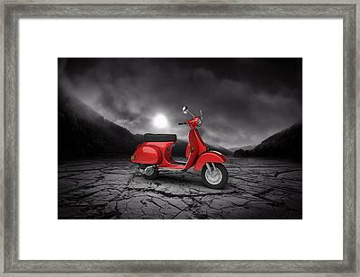 Piaggio Vespa P125x 1978  Mountains Framed Print by Aged Pixel
