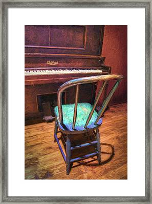 Piano And Chair - Vintage Framed Print