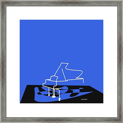 Framed Print featuring the digital art Piano In Blue by Jazz DaBri