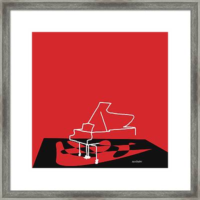 Piano In Red Framed Print