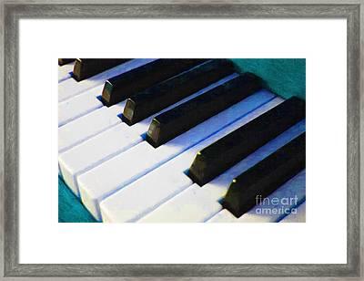 Piano Keys . V2 . Blue Framed Print by Wingsdomain Art and Photography