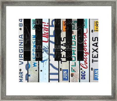 Piano Keys Black And White Recycled Vintage License Plate Art Framed Print by Design Turnpike