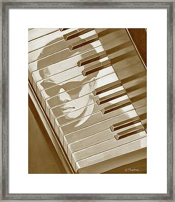 Framed Print featuring the painting Piano Man In Sepia by J L Meadows
