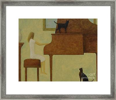 Piano Two Cats Framed Print by Glenn Quist